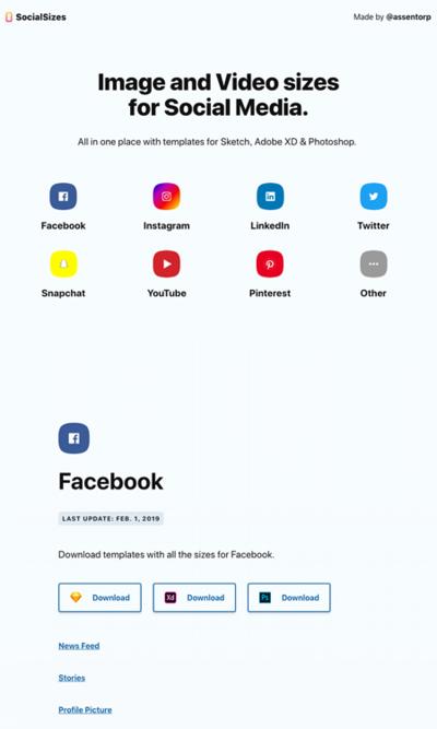 図5 各種ソーシャルメディアで扱える画像,動画のサイズ一覧