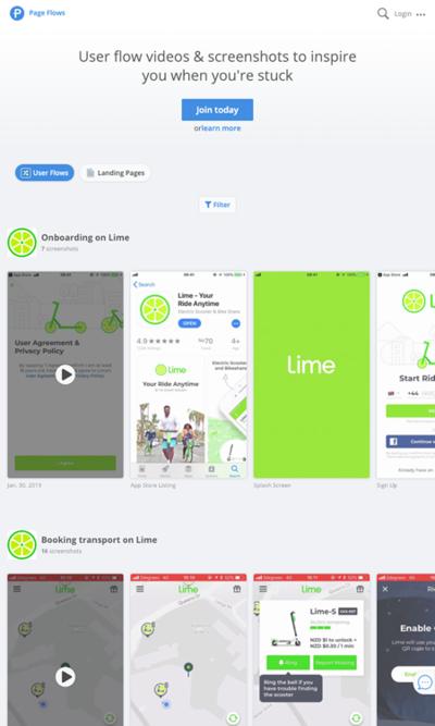 図6 デザインの参考のためにアプリのユーザーフローを集めたサービス