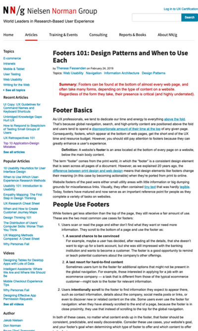 図2 フッタで使われる要素やフッタの失敗例と解決策