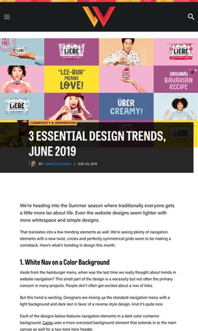 図3 今月のウェブデザインのトレンド3つ