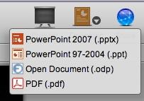 図3 エキスポートできるデータ形式追加 - PPTX,PPT,ODP,PD