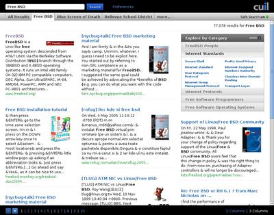 図2 Cuil検索結果画面 - ドリルダウン機能やタブ表示