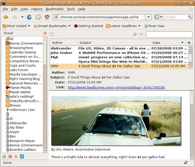 図4 Mozilla Snowlプロトタイプ動作例 (3面分割スタイル) - Mozilla Labs Blogより抜粋