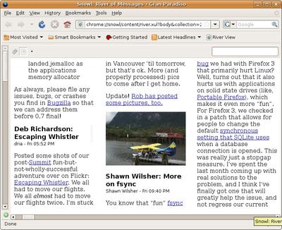 図5 Mozilla Snowlプロトタイプ動作例 (River of News) - Mozilla Labs Blogより抜粋