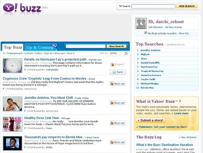 図 Yahoo! Buzz サイト画面例s