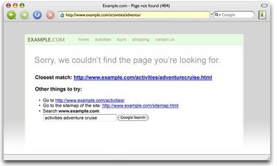 図1 Google Webmaster Tools - Enhance 404 pages活用例 - Official Google Webmaster Central Blogより抜粋