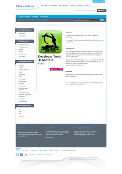 図2 NeuroSky社から提供されているDeveloper Toolsの画面