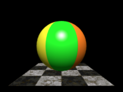 第4回 図2 3次元空間のビーチボールの下に石畳の床が置かれた(再掲)