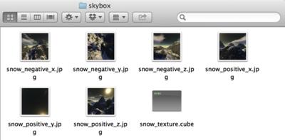図4 6つのテクスチャとJSONファイルをフォルダにまとめた