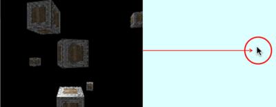 図1 3次元領域の外にポインタを遠ざけるほどカメラが速く回る