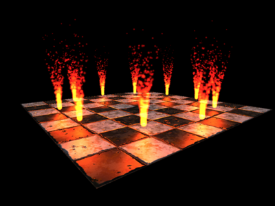 図1 Away3D TypeScriptサイトの作例「Animating particles simulating fire」
