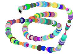 図2 マウスポインタの動く位置にランダムなカラーと大きさのインスタンスが描かれる