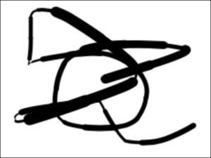 図1 マウスポインタの動きに沿って描いた線の太さが滑らかに変わらない