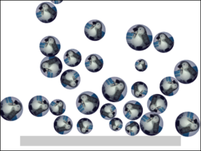 図1 さまざまな大きさのボールがランダムな位置からつぎつぎに床に向けて自由落下する