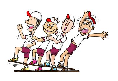 図1 ムカデ競走の隊列は自分の前後さえ知っていれば組める