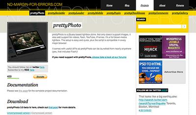 図1 「prettyPhoto」のサイト。