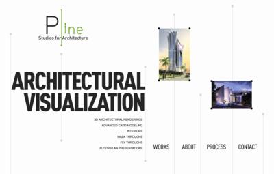 図2 JavaScriptでページ内を移動する「Pline Studios of Architecture」