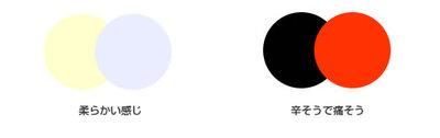 図2 2色を並べただけですが,プロダクトになっていなくとも印象は伝わります。