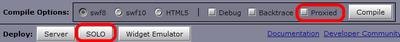 図6 デプロイモードの選択オプション。Proxiedチェックボックスは開発時のデプロイモードを指定,SOLOボタンはSOLOモード用のファイル一式を生成します。