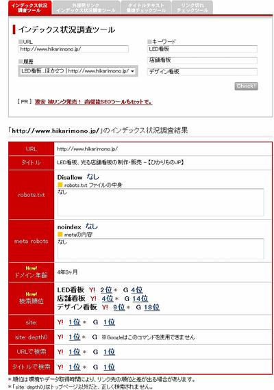 図2 インデックス状況調査ツール