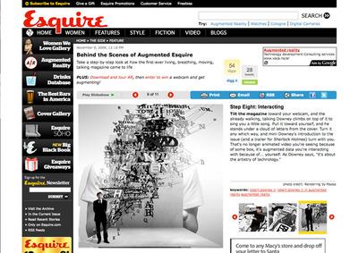 図4 AR技術を取り入れた「Esquire」の2009年12月号