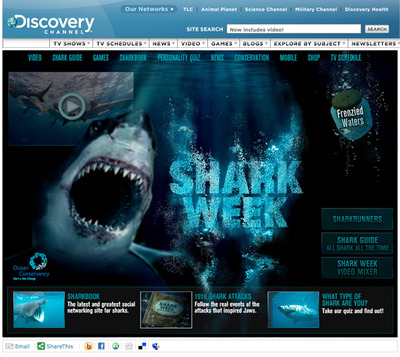 図6 Discovery Channelの「Shark Week」特集のウェブサイト