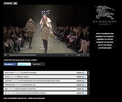 図3 最新のファッションショーがウェブサイトを通じて生中継された
