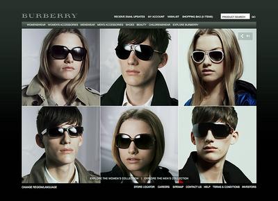 図1 Burberryの最新アイウェアを着用したモデルたちが並ぶ