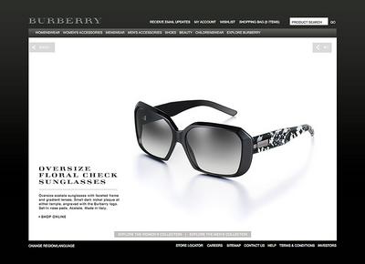 図3 『Burberry Eyewear』の製品紹介は非常にシンプル