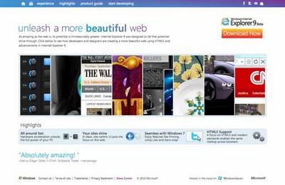 図3 IE9とHTML5による事例を紹介する『Beauty of the Web』