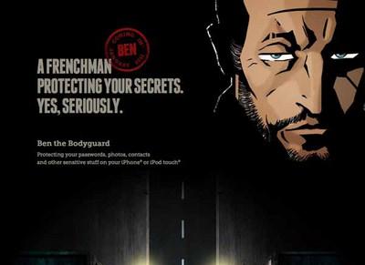 図1 プライバシーを保護するiPhone/iPod touch用アプリ,「Ben the Bodyguard」のティザーサイト