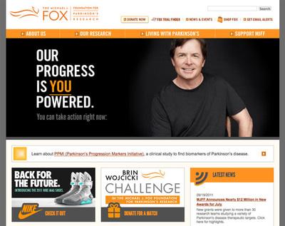 図3 パーキンソン病の研究助成財団「The Michael J. Fox Foundation for Parkinson's Research」のウェブサイト