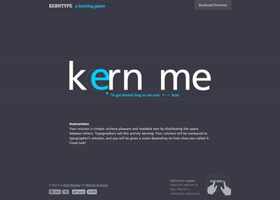 図1 ゲーム形式でカーニングを『Kern Type, the kerning game』