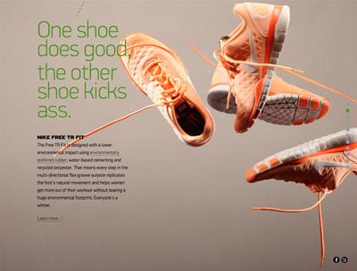 図3 Nikeの考える未来への取り組みを紹介した『Nike Better World』も,パララックスを利用しているウェブサイトの一つ