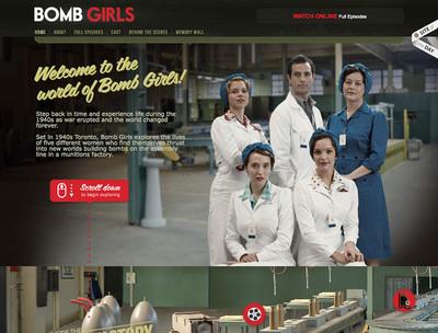 図3 個性的なスクロールが光る「Bomb Girls」の公式サイト