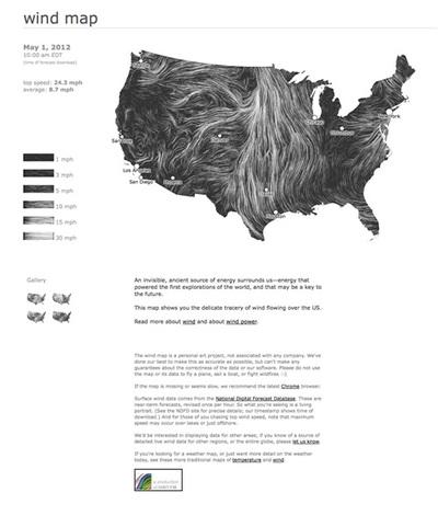 図4 『Wind Map』はアメリカの風の動きを視覚化するプロジェクト