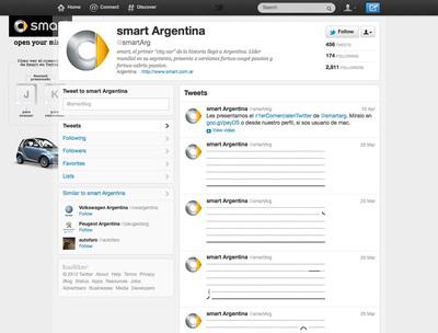 図7 ツイートによるアニメーションが展開される『smart Argentina (@smartArg) on Twitter』