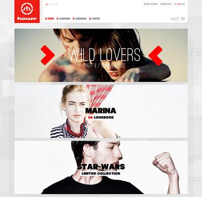 図1 コンテンツが縦に並ぶ,ファッションブランド「House」のウェブサイト