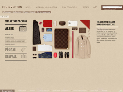 図1 旅行鞄への収納方法を解説する,Louis Vuittonの『The Art of packing』
