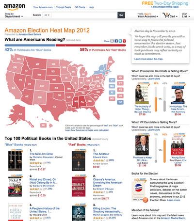 図1 政治関連書籍の販売データから作成される『Amazon Election Heat Map 2012』