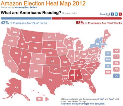 図2 政治関連書籍の販売データによって,各州が塗りつぶされる