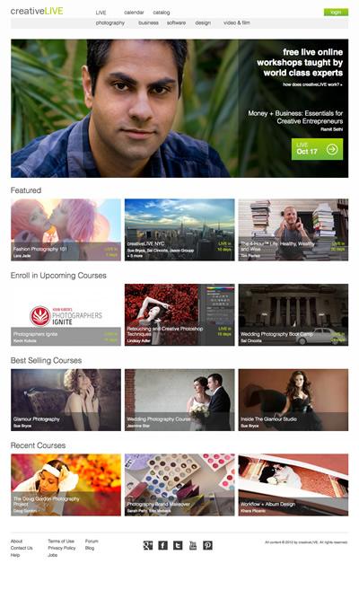 図1 無料で講座が視聴できるサービス,『creativeLIVE』