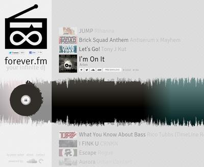 図5 「SoundCloud」から選んだ曲を,つなぎ合わせて配信する『forever.fm』