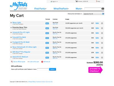 図5 ウェブフォントをカートに入れると「Pay As You Go」の表示がされる