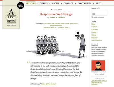図4 「レスポンシブWebデザイン」が提唱された,「A List Apart」の「Responsive Web Design」