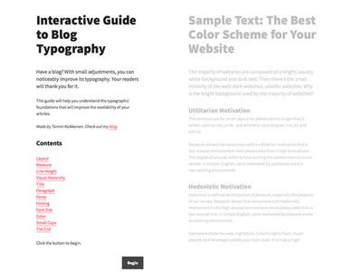図1 Blogにおけるタイポグラフィを説明する『Interactive Guide to Blog Typography』