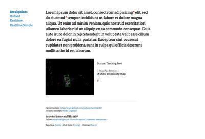 図4 ユーザーの距離に応じて文字サイズを自動的に変化させる『Responsive Typography Demo』