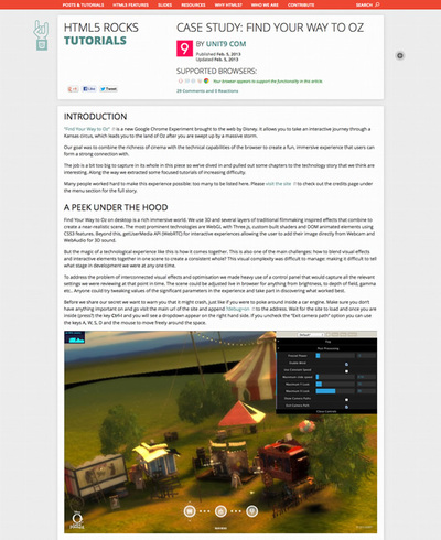 図8 『HTML5 Rocks』で公開されている『Find Your Way to Oz』の技術資料