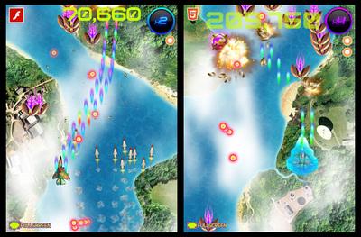 図4 「Play」では,開発技術の異なるシューティングゲームが実際に遊べる(左:Flash版,右:HTML5版)