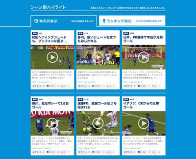図2 試合によっては,シーン別のハイライト動画も用意されている